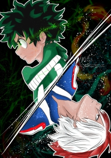 boku no hero deku y todoroky fan art bd